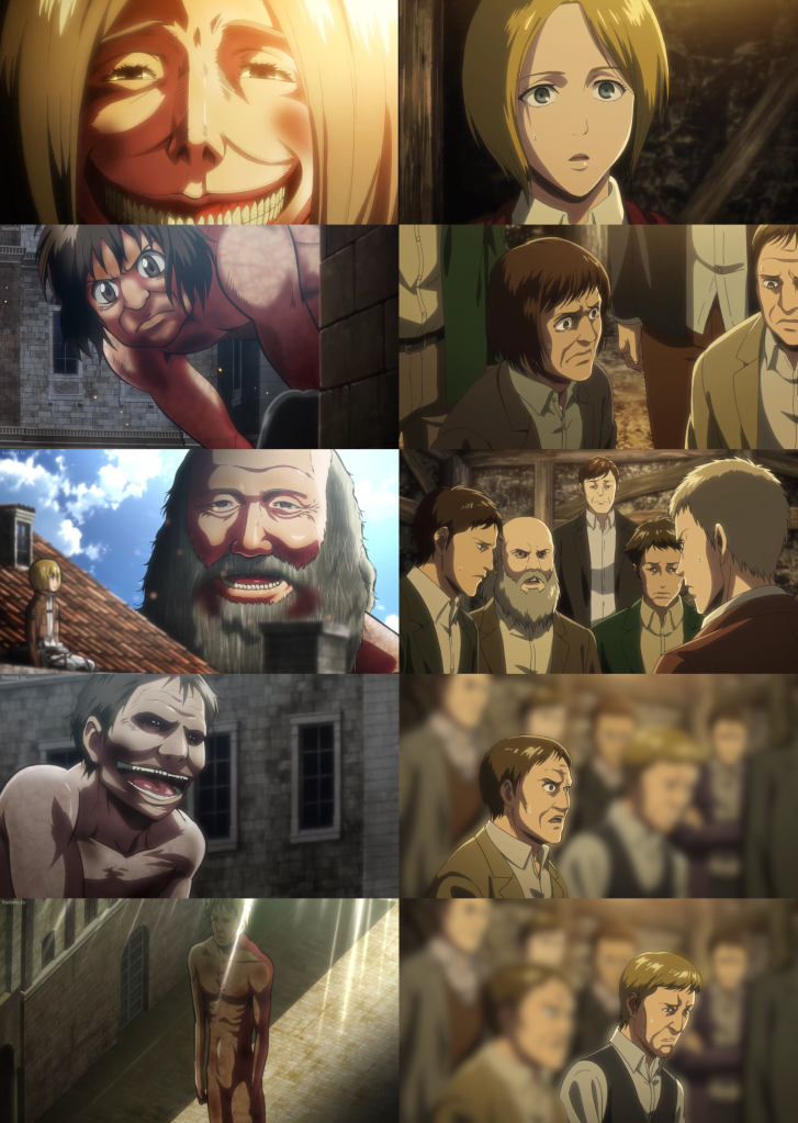 The titans seen in Trost here are many of the titans seen in the season 3 episode, 'That Day,' made up of Eldian Restorationists, comrades of Eren's father, Grisha